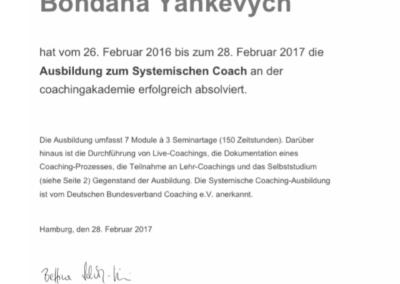 Zertifikat Bohdana Yankevych Inner Capacity